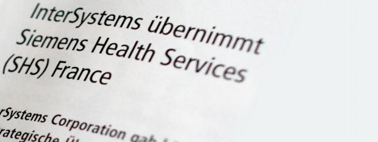 Bildausschnitt Überschrift Intersystems Pressemitteilung InterSystems übernimmt Siemens Health Services