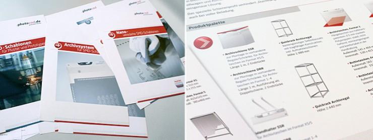 Ansicht mehrere technische Datenblätter für photocad