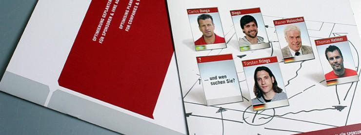 Gestaltung Broschüre mit Fußballprominenz für presented by, Berlin