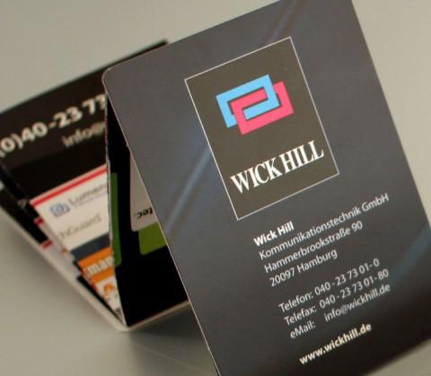 Gestaltung z-Card für Wick Hill, Hamburg