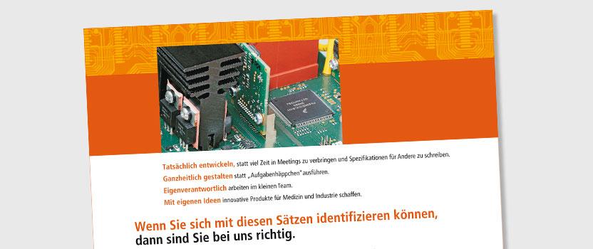Gestalten einer erfolgreichen Stellenanzeige - Grafikdesign für Tigris Elektronik, Berlin