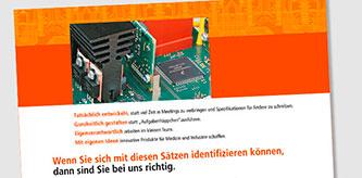 Gestaltung Stellenanzeige für TIGRIS Elektronik
