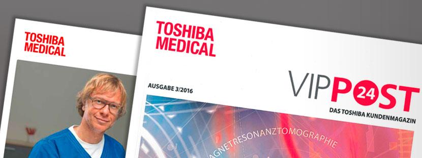 Die Titelblätter von Toshiba Medical Kundenmagazin und VIPPOST24