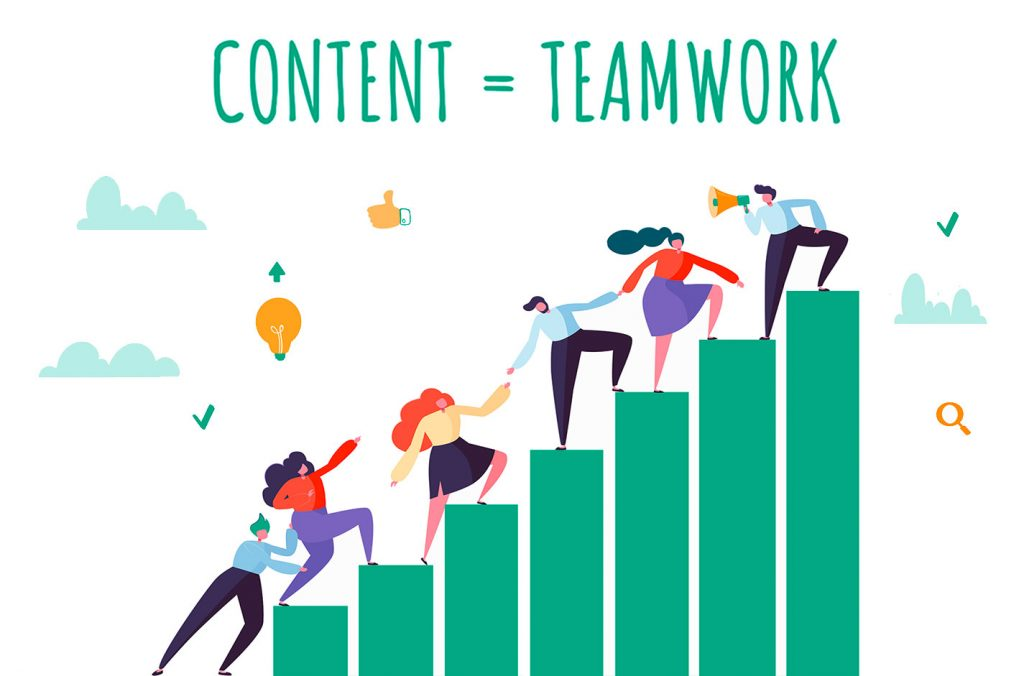 Content-Marketing ist Teamwork. Ein neuer Blogbeitrag über die Zusammenarbeit von Abteilungen in Unternehmen, damit Content-Marketing gelingt.